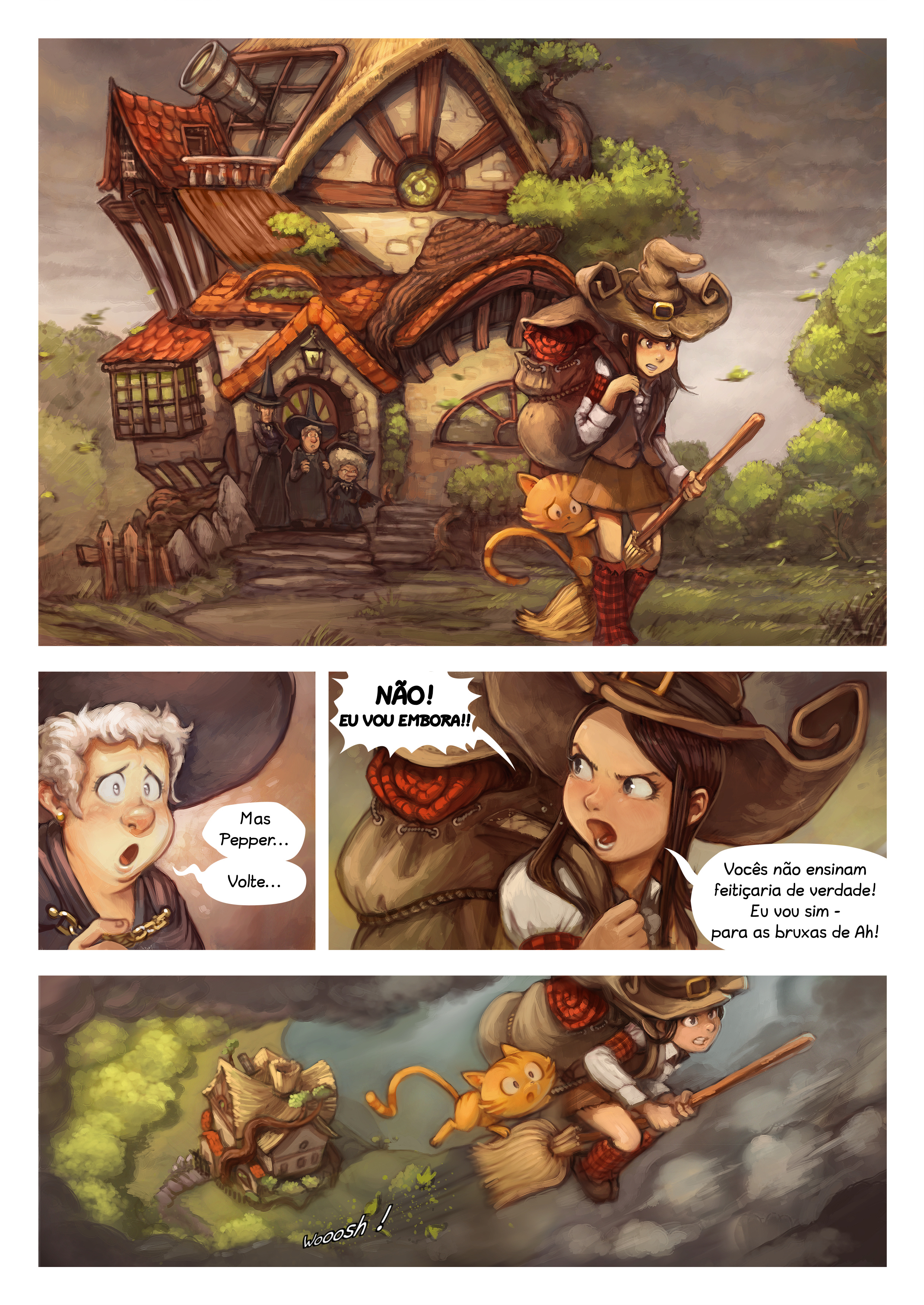 A webcomic page of Pepper&Carrot, episódio 17 [pt], página 1