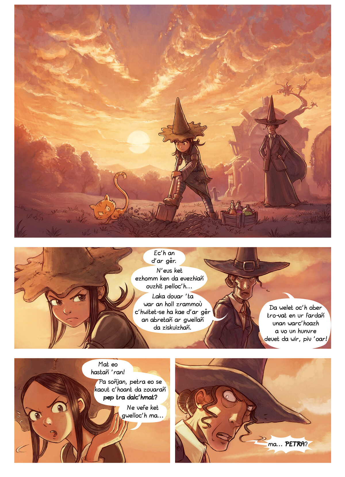 A webcomic page of Pepper&Carrot, rann 19 [br], pajenn 1