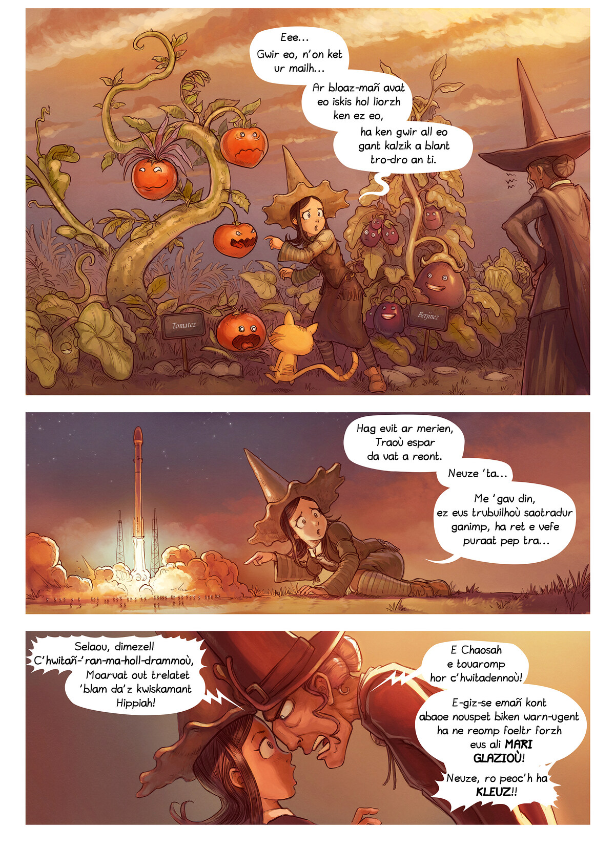 A webcomic page of Pepper&Carrot, rann 19 [br], pajenn 2
