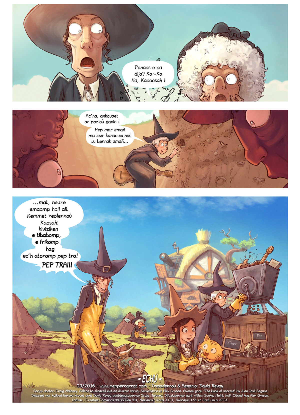 A webcomic page of Pepper&Carrot, rann 19 [br], pajenn 7