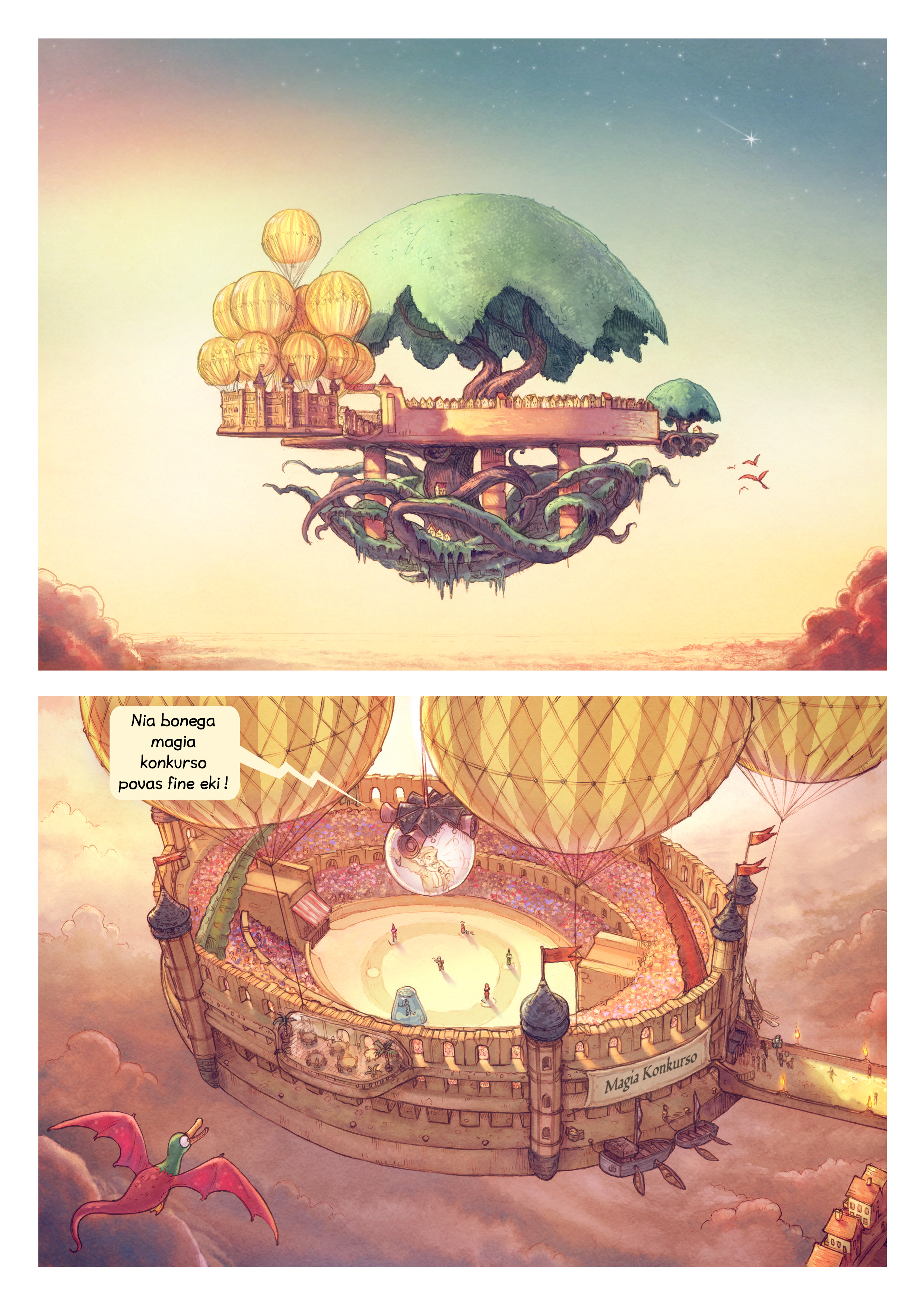 A webcomic page of Pepper&Carrot, rakonto 22 [eo], paĝo 1